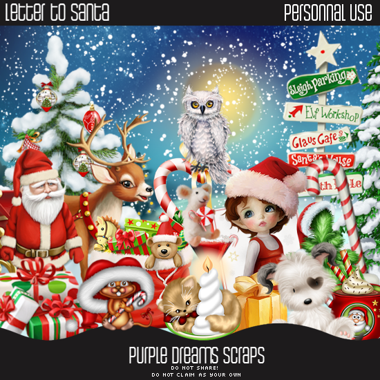 Tashas world of psp letter to santa purple dreams scraps tube is called tracy this is a christmas tube it comes in different colours and accessories on different layers spiritdancerdesigns