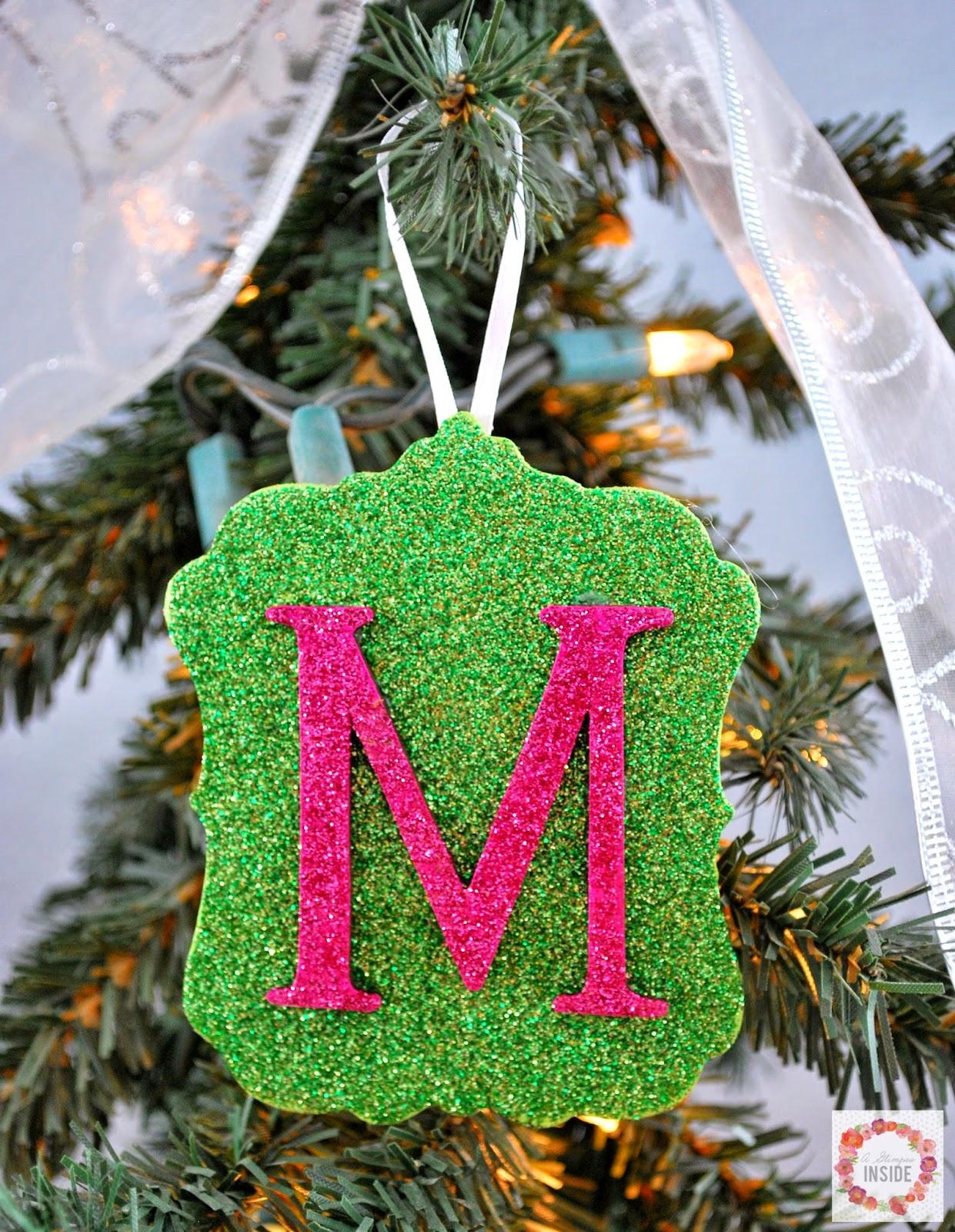 A Glimpse Inside Easy Glitter Wood Monogram Ornament