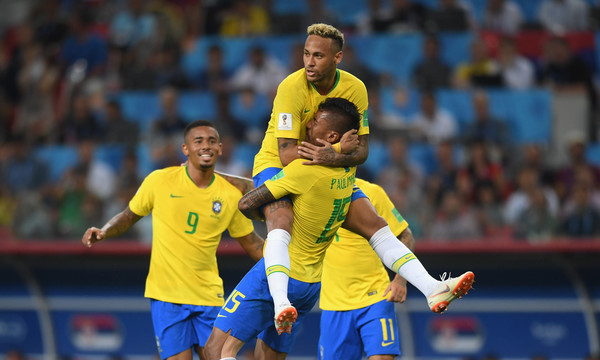 Brazil goalscorer Paulinho celebrates his goal with Gabriel Jesus (l) and Neymar Jr during the 2018 FIFA World Cup Russia group E match between Serbia and Brazil at Spartak Stadium on June 27, 2018 in Moscow, Russia.