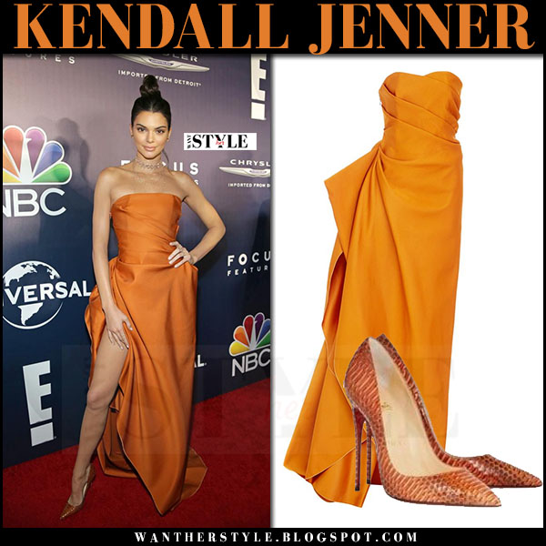 Kendall Jenner in orange strapless gown paule ka golden globes 2017 what she wore