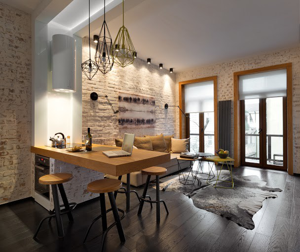 Amenajare practică într-un apartament de 40 m² din Kiev