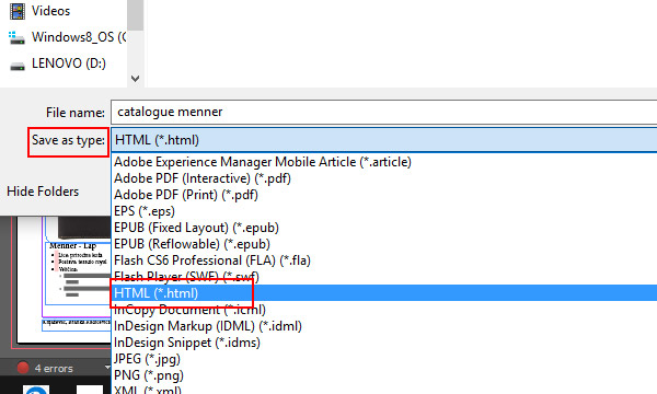 Export as HTML from InDesign