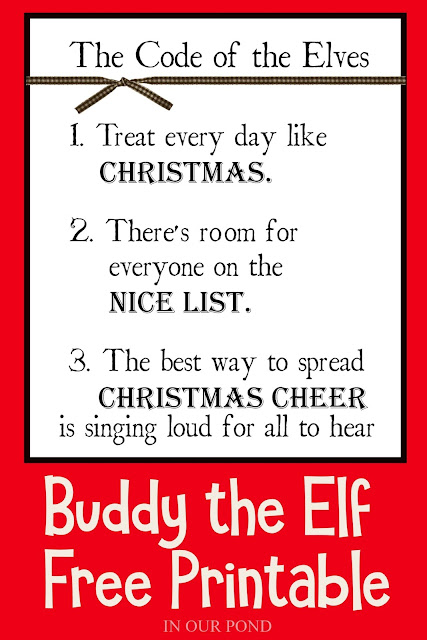 Elf Movie Code of the Elves free printable sign // In Our Pond // Christmas movies // Elf on the Shelf // Doll Miniatures // Dollhouse // Christmas Decorations // Will Ferrell Elf