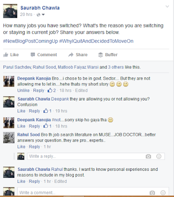 Why you switched jobs by saurabh chawla on facebook