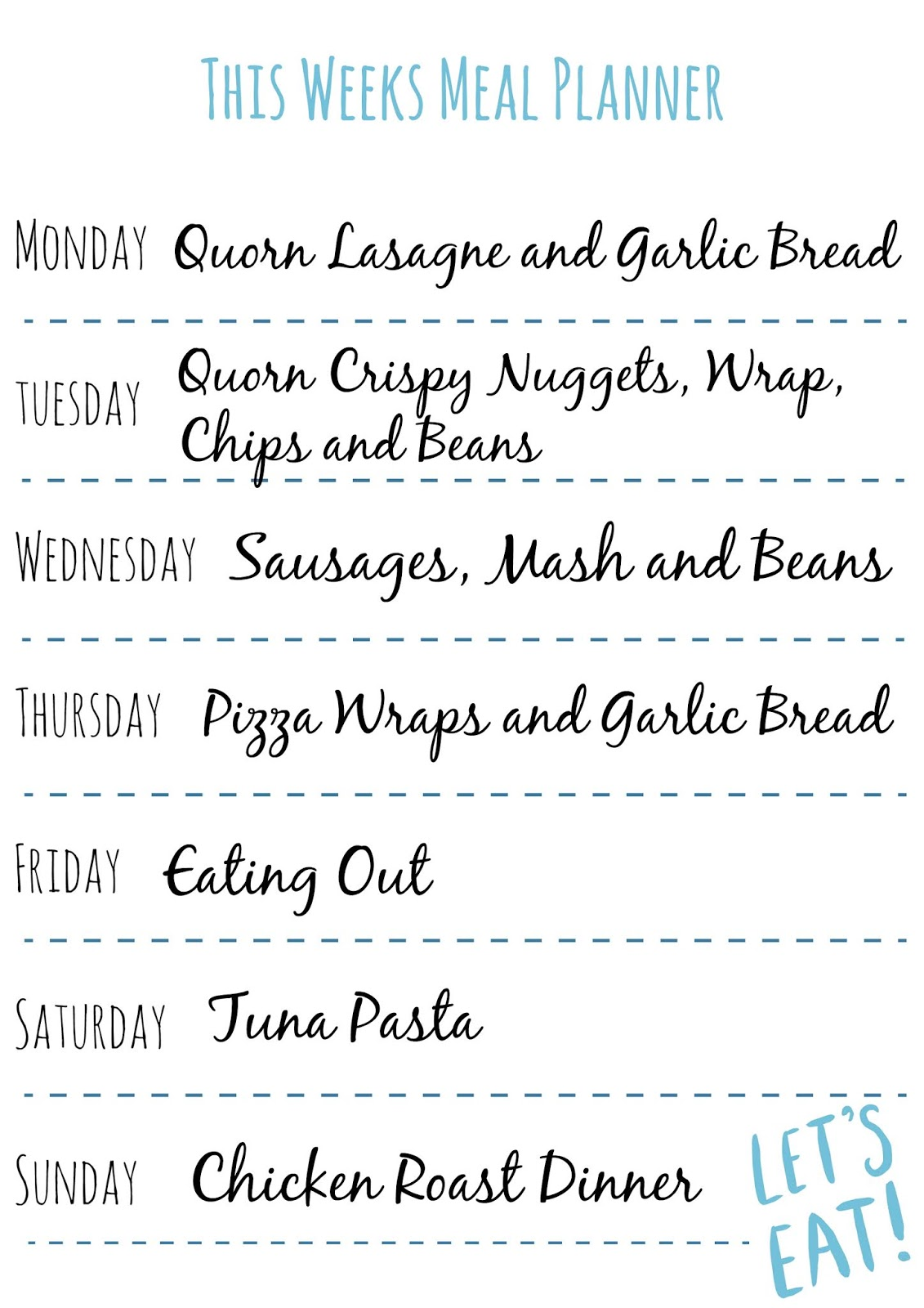 Slimming World This Weeks Meal Planner And Fanta Chicken