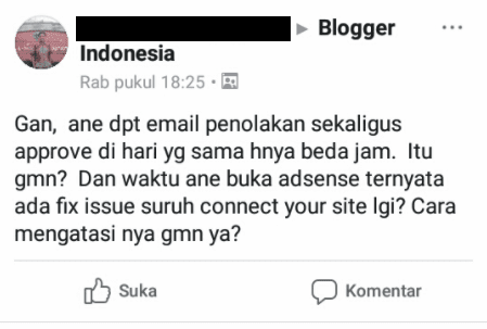 Contoh Thread Seorang Blogger Yang Mendapatkan 2 Gmail Adsense Yang Berbeda
