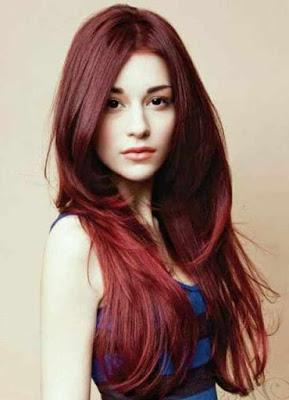 Rambut Panjang Pirang Merah