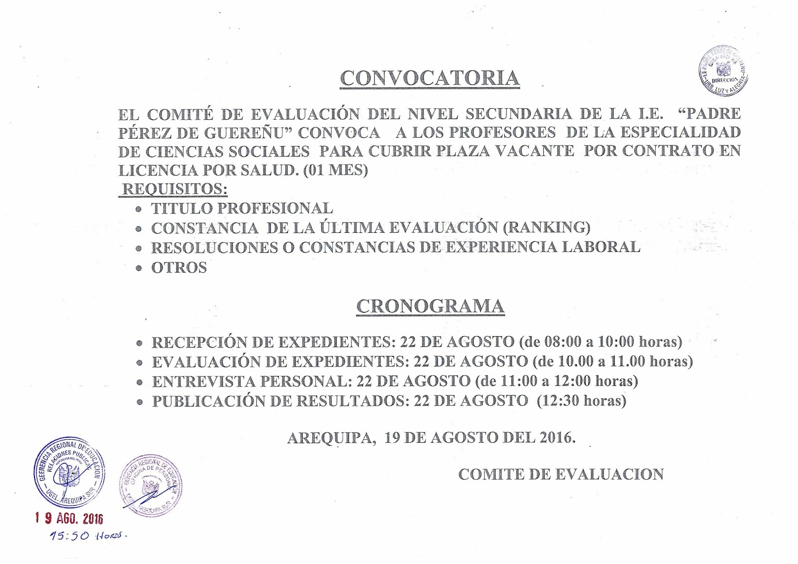Contrato Para Plaza Docente De Ciencias Sociales I E