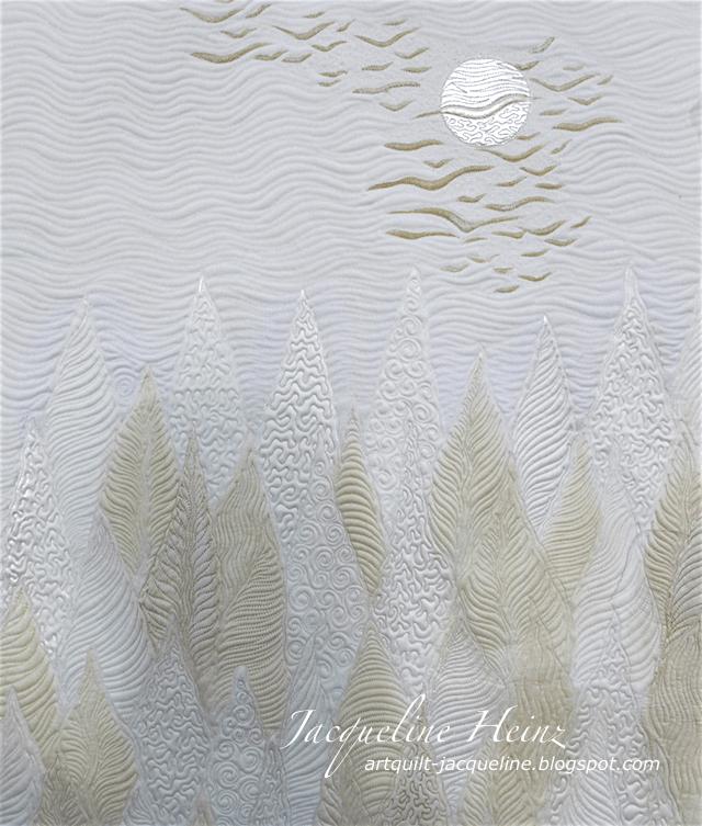 Ein Quilt von Jacqueline Heinz aus dem Atelier Wolfenbüttel white forest