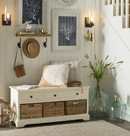 Coastal Storage Bench with Baskets