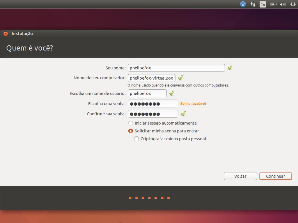 Instalação - Configuração do usuário