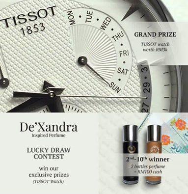 Lucky Draw Perfume De'xandra Hadiah Jam Tissot bernilai RM 3000