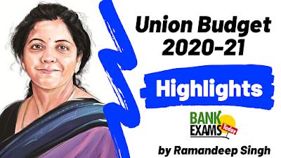 Union Budget 2020-21 Highlights