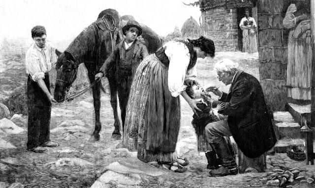 Reproducción de la pintura titulada ¿Será difteria? de Marcelino Santamaría Sedano (La Ilustración Española y Americana, 30-6-1894)
