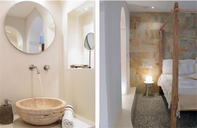 Villa Surga en Ibiza dormitorio con suelo de cantos rodados chicanddeco