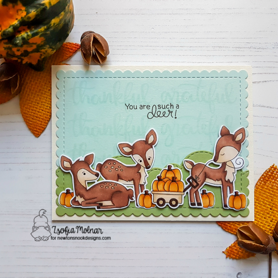Such a Deer Card by Zsofia Molnar | Deer Friend, Harvest Tails and Thankful Thoughts Stamp Sets by Newton's Nook Designs #newtonsnook #handmade