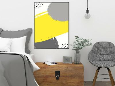 żółte plakaty do salonu