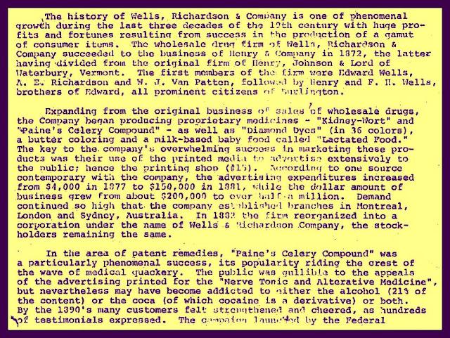 Well, Richardson & Co. history, patent medicine manufacturer