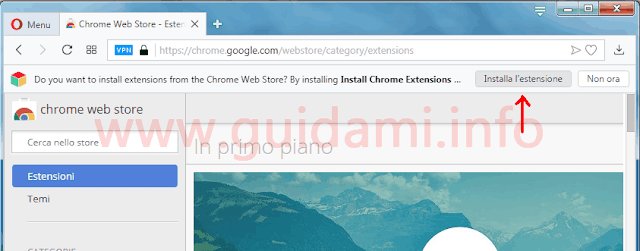 Opera 55 popup installa Install Chrome Extensions