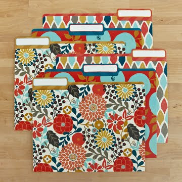 file folders with colorful flowers