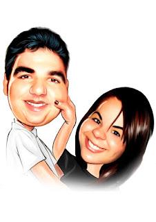 caricatura colorida e engraçada de casal