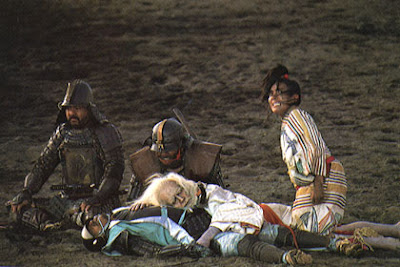 Lord Hidetora passes away while mourning his youngest son's death, royal jester mourns, Tatsuya Nakadai as Lord Hidetora in Oscar winning Japanese war epic Ran, Directed by Akira Kurosawa