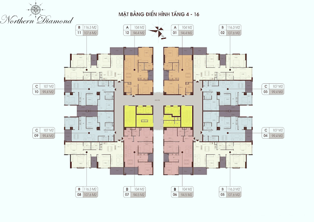 Mặt bằng điển hình tầng 4- 16 chung cư Northern Diamond