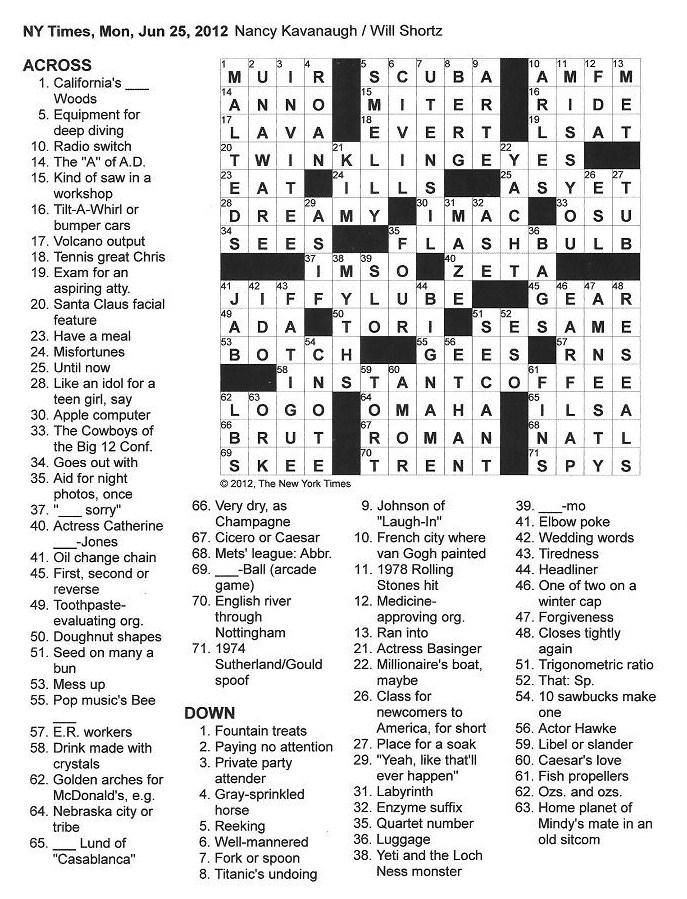 the new york times crossword in gothic  june 2012