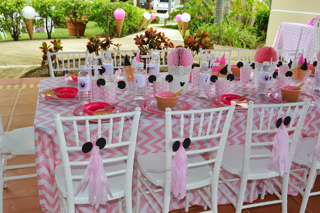 Minnie Mouse Ice Cream Shop Birthday Party setting