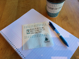 Caribou Coffee paper napkin with joke about lack of sleep