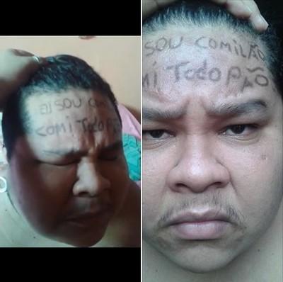 Mãe com raiva tatua na testa do filho