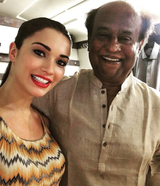 Amy Jackson with Rajinikanth Selfie.