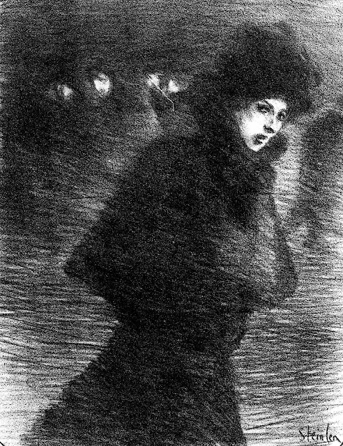 Theophile-Alexandre Steinlen drawing of a walking woman in winter