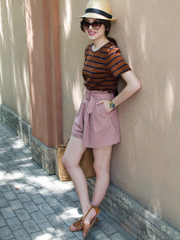 diyorasnotes_dutsypink_shorts_stripe_top_hat_h&m