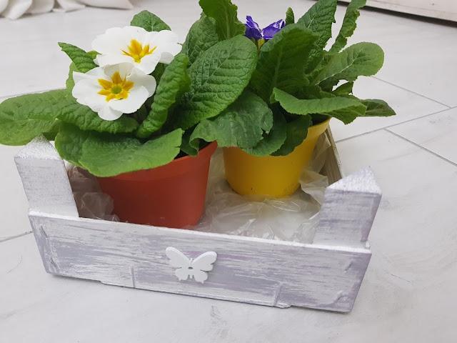 riciclo creativo cassetta della frutta, porta oggetti sotto vaso