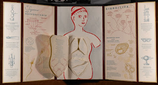 """Body of Inquiry"" opened to show several panels of text and illustrations, including the central image of of a woman's head and torso, which contains several cut-out pages shaped like organs."