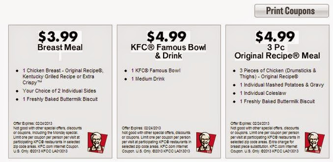 graphic about Kfc Coupons Printable titled KFC Printable Discount coupons Could 2018