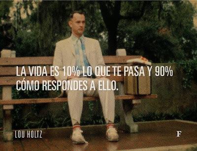 La vida es un 10% lo que te pasa y 90% cómo respondes a ello. Lou Holtz
