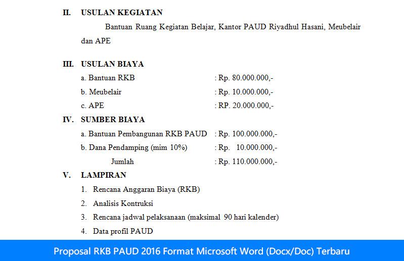 Proposal RKB PAUD 2016 Format Microsoft Word (Docx/Doc) Terbaru