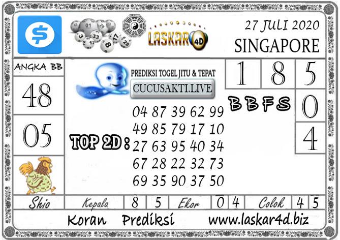 Prediksi Togel SINGAPORE LASKAR4D 27 JULI 2020
