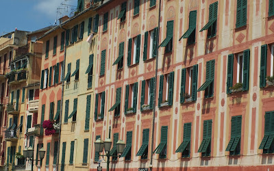 Traditional Ligurian buildings with trompe l'oeil. Santa Margherita Ligure.