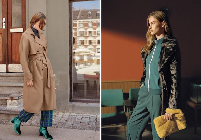 Девушки в базовых пальто и шубе с яркими аксессуарами
