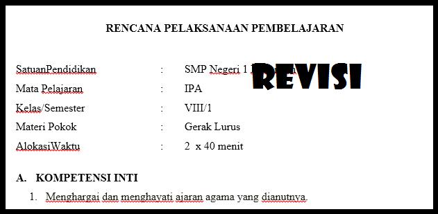 RPP K13 Kelas VIII IPA Revisi Terbaru Tahun Ajaran 2018/2019