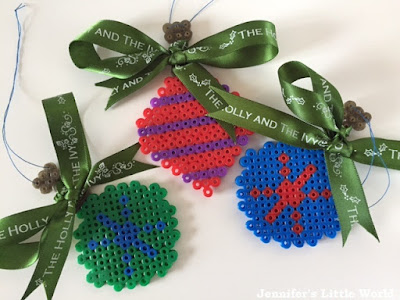 Hama bead and ribbon Christmas baubles