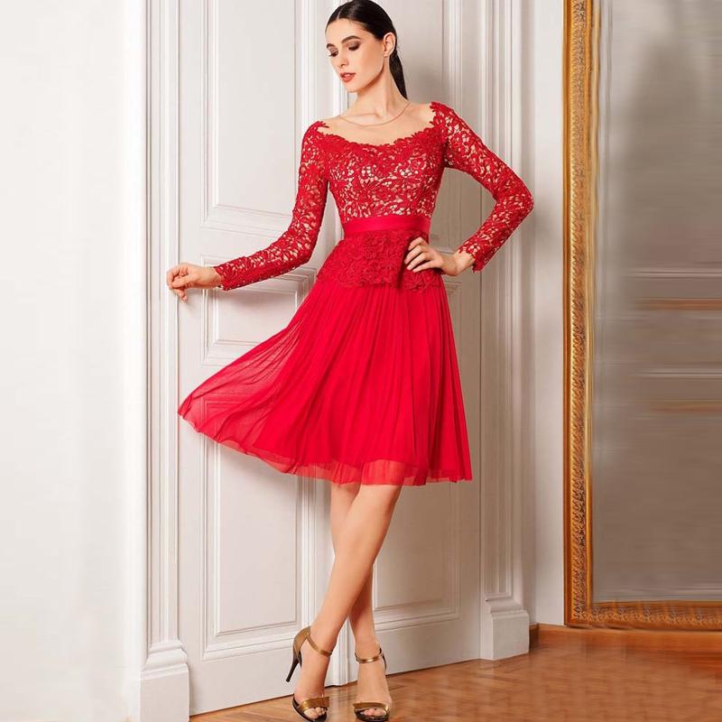Short Red Chiffon Long Sleeved Lace Dress