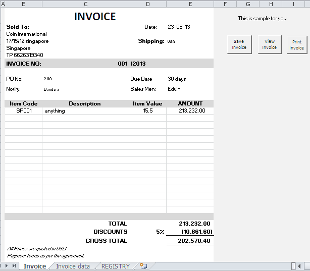 WHAT YOU GIVE TO WORLD LAST SECOND: Invoice generate database ...