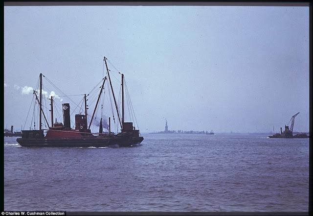 Battery Park toward the Statue of Liberty 6 June 1941 worldwartwo.filminspector.com
