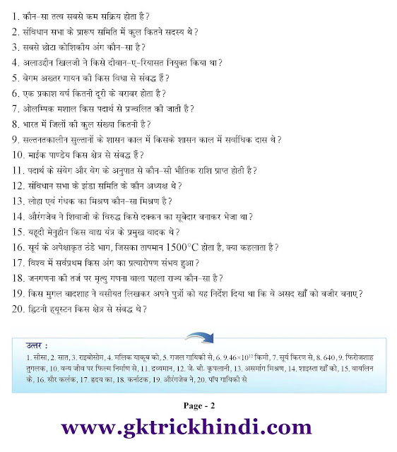 GK PDF in Hindi For SSC