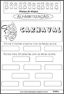 Atividades sobre carnaval