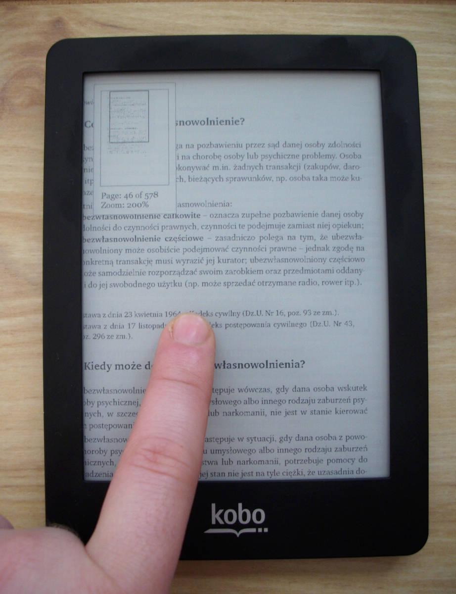 Kobo Glo a nawigacja po pliku pdf